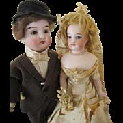 Antique Bisque Head Bride and Groom Dolls