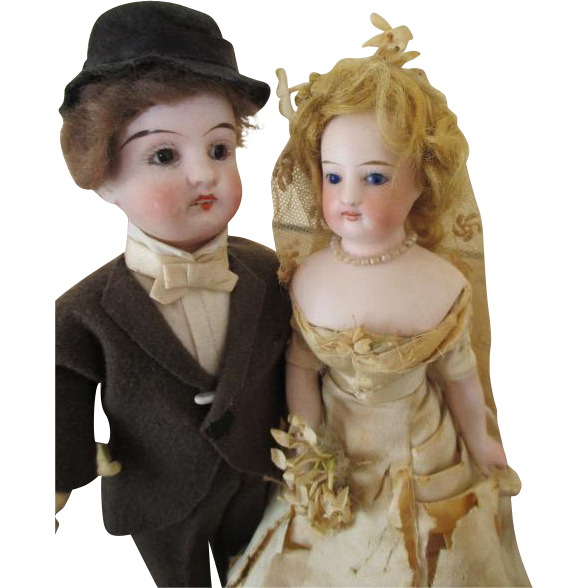 Antique Bisque Head Bride and Groom Dolls