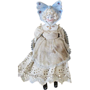 Antique Hertwig Butterfly Bonnet Head Doll