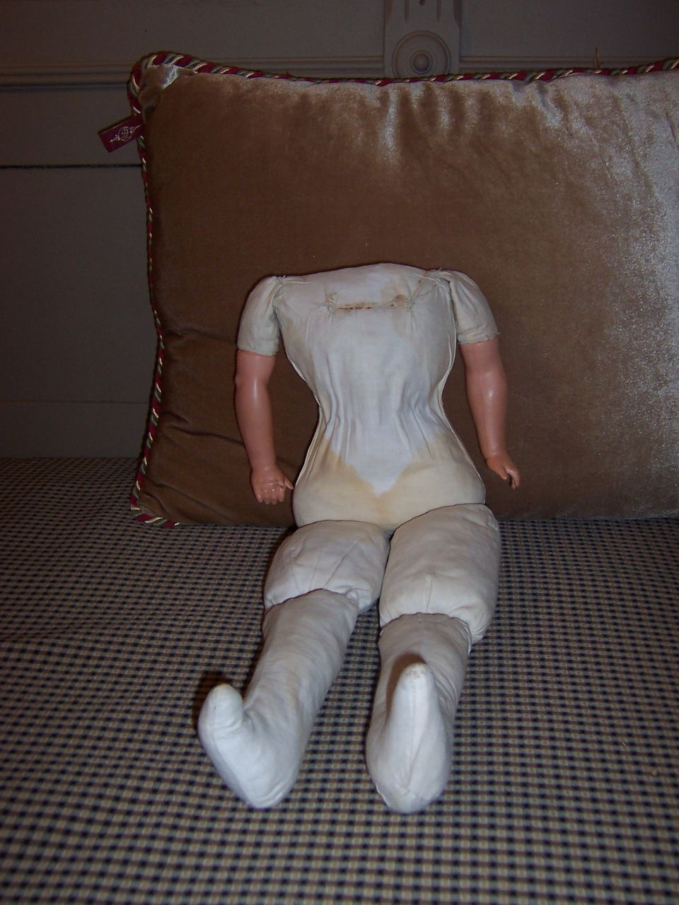 "18"" Cloth Doll Body with Celluloid Arms"