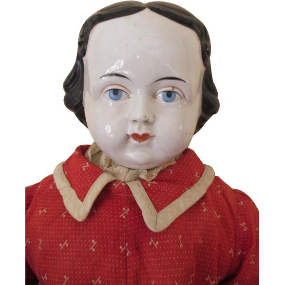 Large Baby Faced China Head Doll with Chubby Cheeks