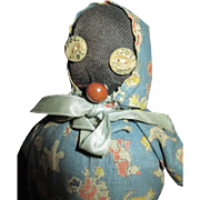Black Cloth Folk Art Doll