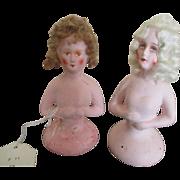 Two Vintage Plaster Half Dolls