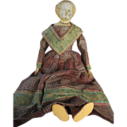 Blond Paper Mache Head Doll in Amazing Outfit