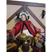 "Antique 8"" Milliners Model Peddler Doll with Lots of Merchandise"