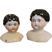 Two Antique Male China Doll Heads