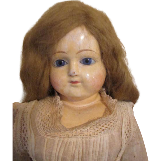 Antique Paper Mache Head Doll - Sweet Look by F. S. Schilling