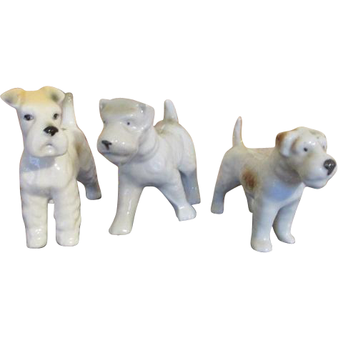 Three Miniature China Pups for your Doll House