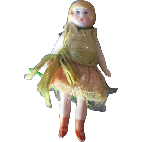 All Bisque Antique Flapper Doll in Original Outfit