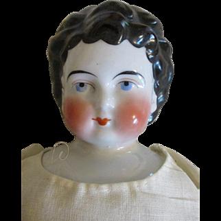 Unusual Apple Cheek China Head Doll