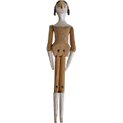 Early Wooden Doll with Side Curls