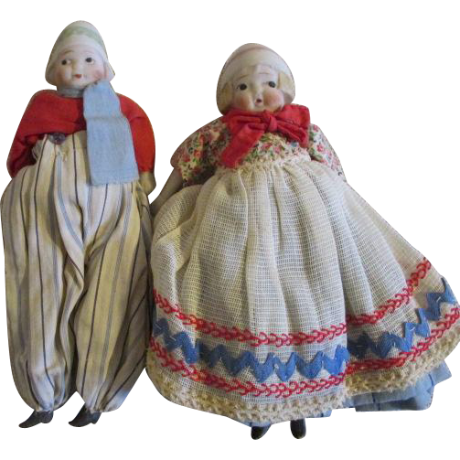 Antique Bisque Bonnet Head Dolls in Original Costumes