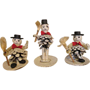 Vintage Pine Cone Snowman Dolls