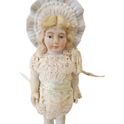 Vintage Bisque Bonnet Head Doll