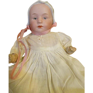 Antique Bisque Head Baby Stuart by Heubach - Bonnet Head Doll
