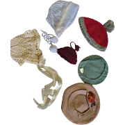 Assortment of Antique and Vintage Doll Bonnets