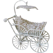 Sweet Miniature Metal Doll Carriage with Umbrella Top