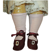 Antique Doll Shoes for Your French Doll with Mother of Pearl Buckles