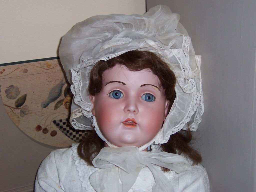 "Antique 32"" Bisque Head Kestner 196 w/Fur Brows and Lovely Expression"