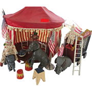 Sensational Schoenhut Circus with Tent, Elephants, Clowns, Acrobat, Wagon, Tiger