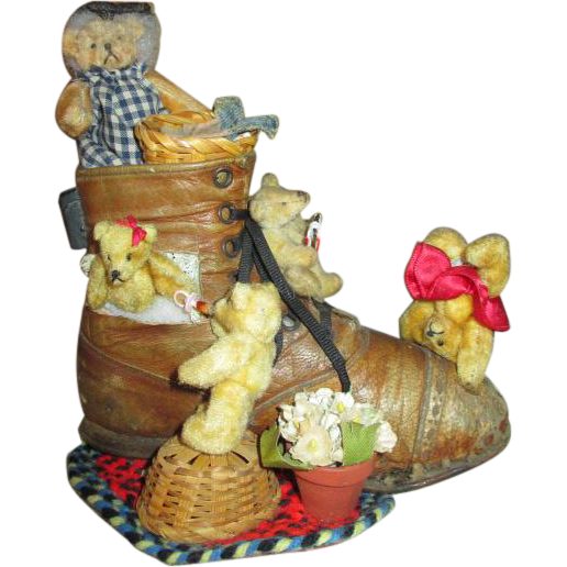 Antique Shoe Full of Miniature Teddy Bears