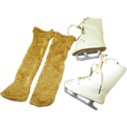 Vintage Doll Skates with Mustard Colored Stockings