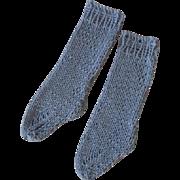Vintage Blue Cotton Knit Doll Socks