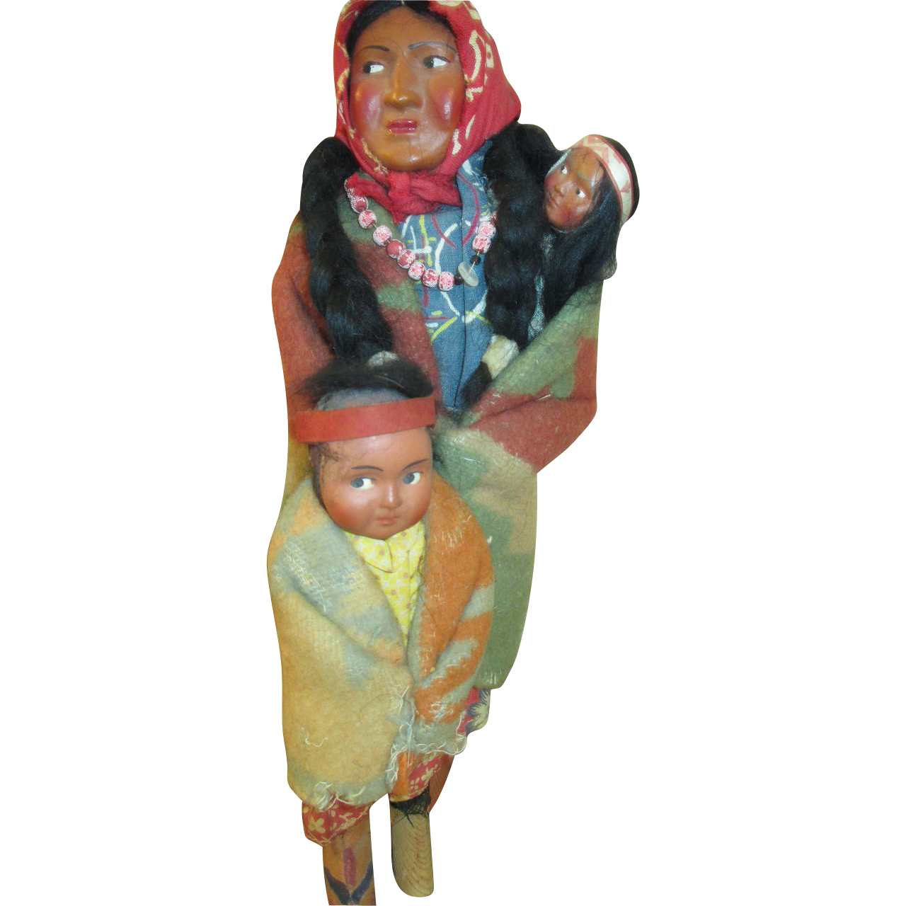 Set Of 3 Vintage Skookum Dolls Mama Baby Amp Child