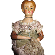"Antique 11"" Joel Ellis Doll Dressed As a Fine Lady"