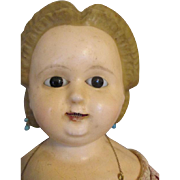 Unusual Wax Over Paper Mache Head Doll with Exposed Bambo Teeth