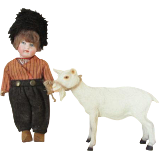 Antique Bisque Head Doll with little Goat