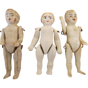 3 Antique Stone Bisque Miniature Dolls