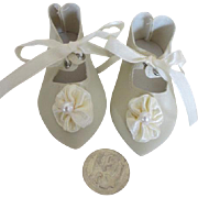 French Ivory Vintage Doll Shoes
