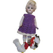 Sweet Antique All Bisque Doll with her Chickens