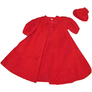 Vintage Barbie Red Flare Coat and Hat