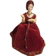 Antique Bald Dome Bisque Half Doll Pin Cushion - Beautiful Face