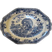Vintage Blue and White Turkey Platter