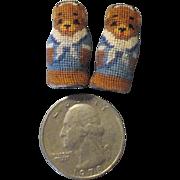"Tiny Miniature 1"" Needlepoint Teddy Bears"