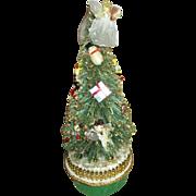 Vintage Brush Bottle Tree - Rotating Tree - Plays Jingle Bells