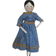 Antique Peg Wood Doll - Lovely Dress