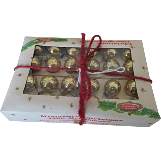 Tiny Doll House Miniature Gold Shiny Brite Ornaments in Original Box