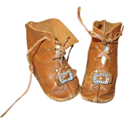 Antique Leather Doll Boots with Toe Buckles