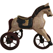 Wooden Carved Horse Tricycle for Your Doll