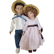 Darling Brother and Sister Dolls - Artist Signed