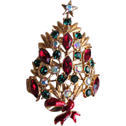 Stunning Christmas Pin with Crystal Ornaments