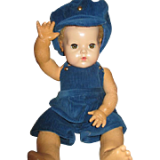 "Vintage Blue Courderoy Play Suit for Your 20"" Vintage Doll"