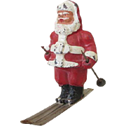 Miniature Cold Painted Metal Santa Claus on Skis