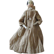 Early Antique Wooden Doll in Original Dress