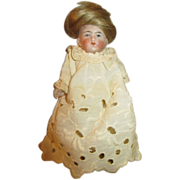 "Antique 5"" All Bisque Doll for Doll House"