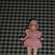 """Adorable 4"""" Doll House Doll in Crochet Dress"""